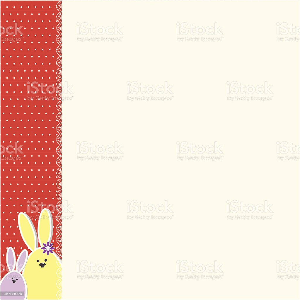 Easter bunnies greeting card vector art illustration