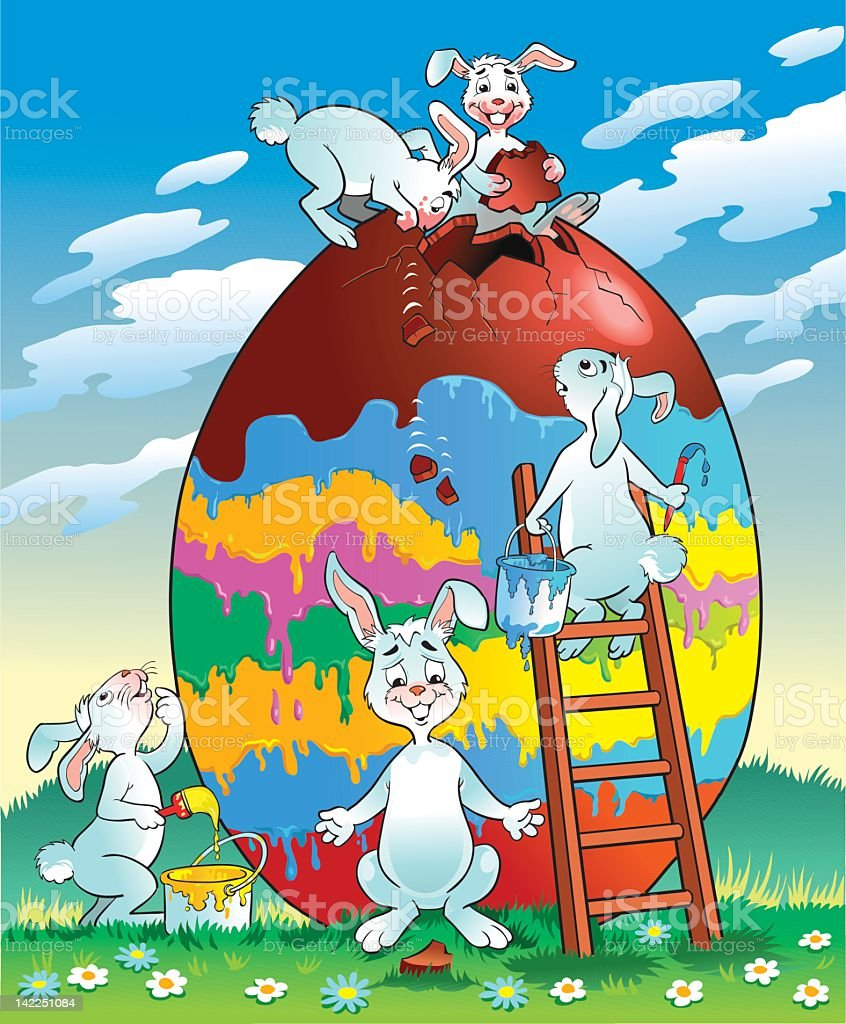 Easter Bunnies Painting a Very Large Egg royalty-free stock vector art