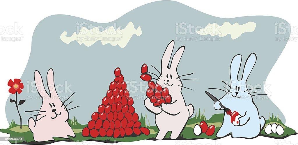 Osterhasen malen Eier für Ostern Lizenzfreies vektor illustration