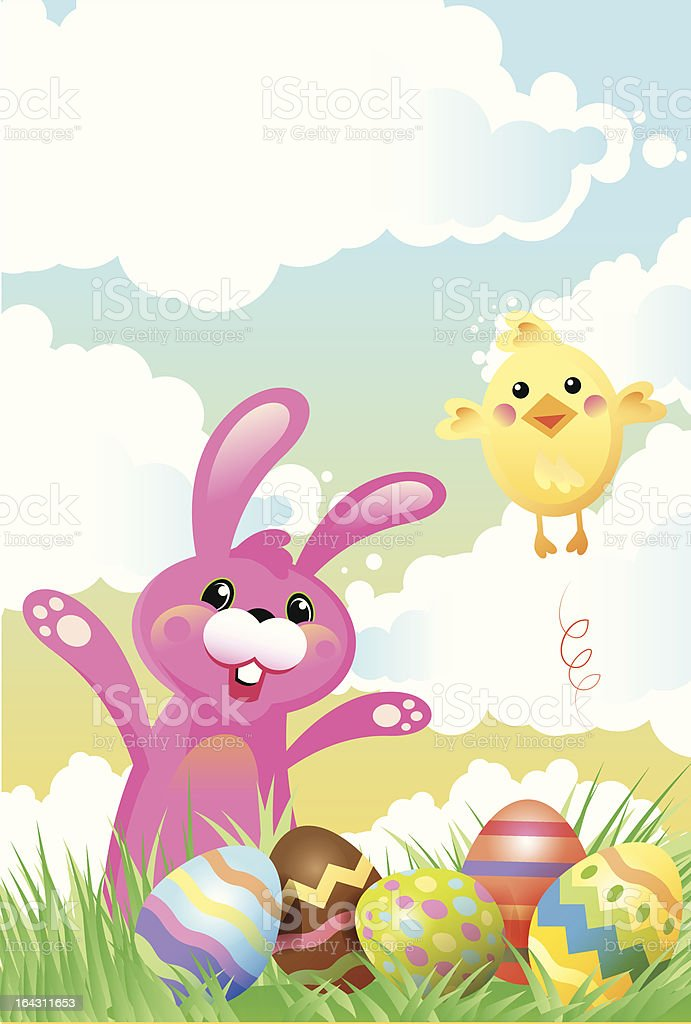 Easter Bunny and Chick royalty-free stock vector art