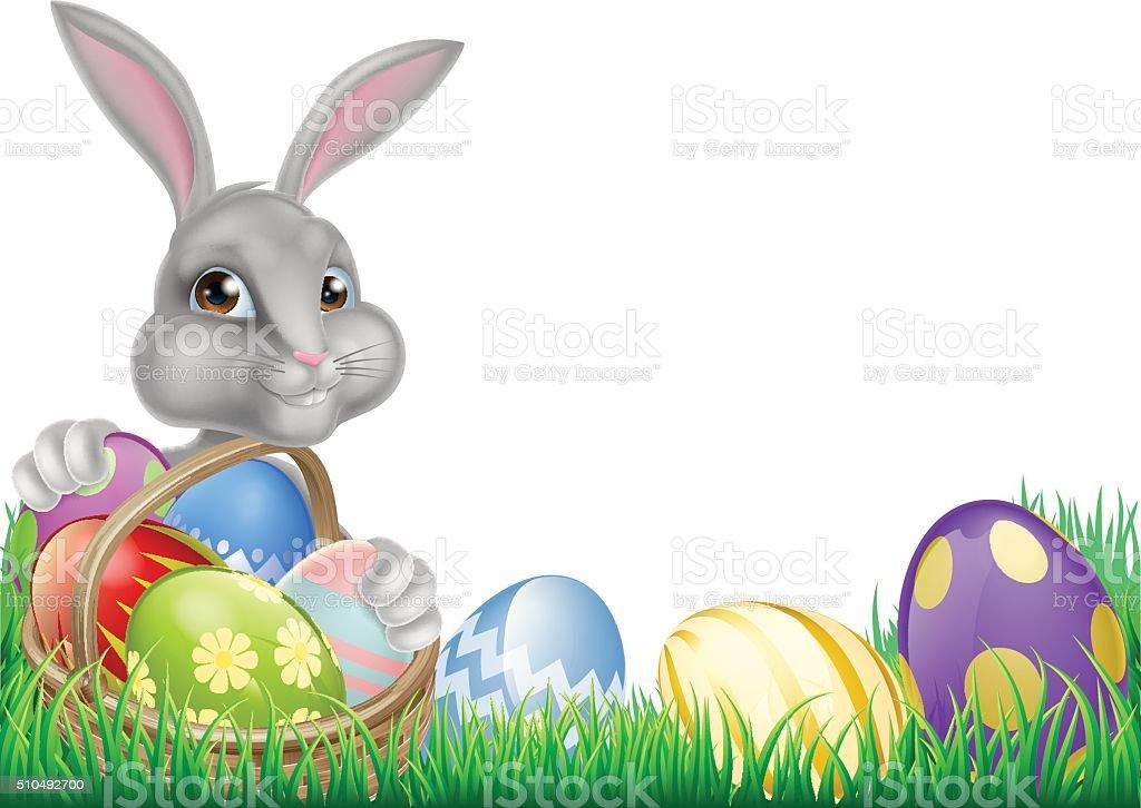 Easter Bunny and Eggs Basket vector art illustration