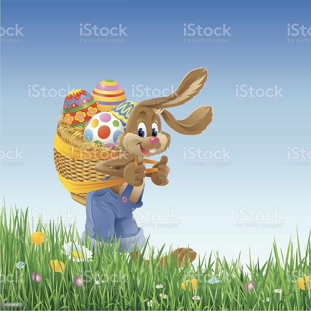 Easter Bunny Carrying Basket with Eggs vector art illustration