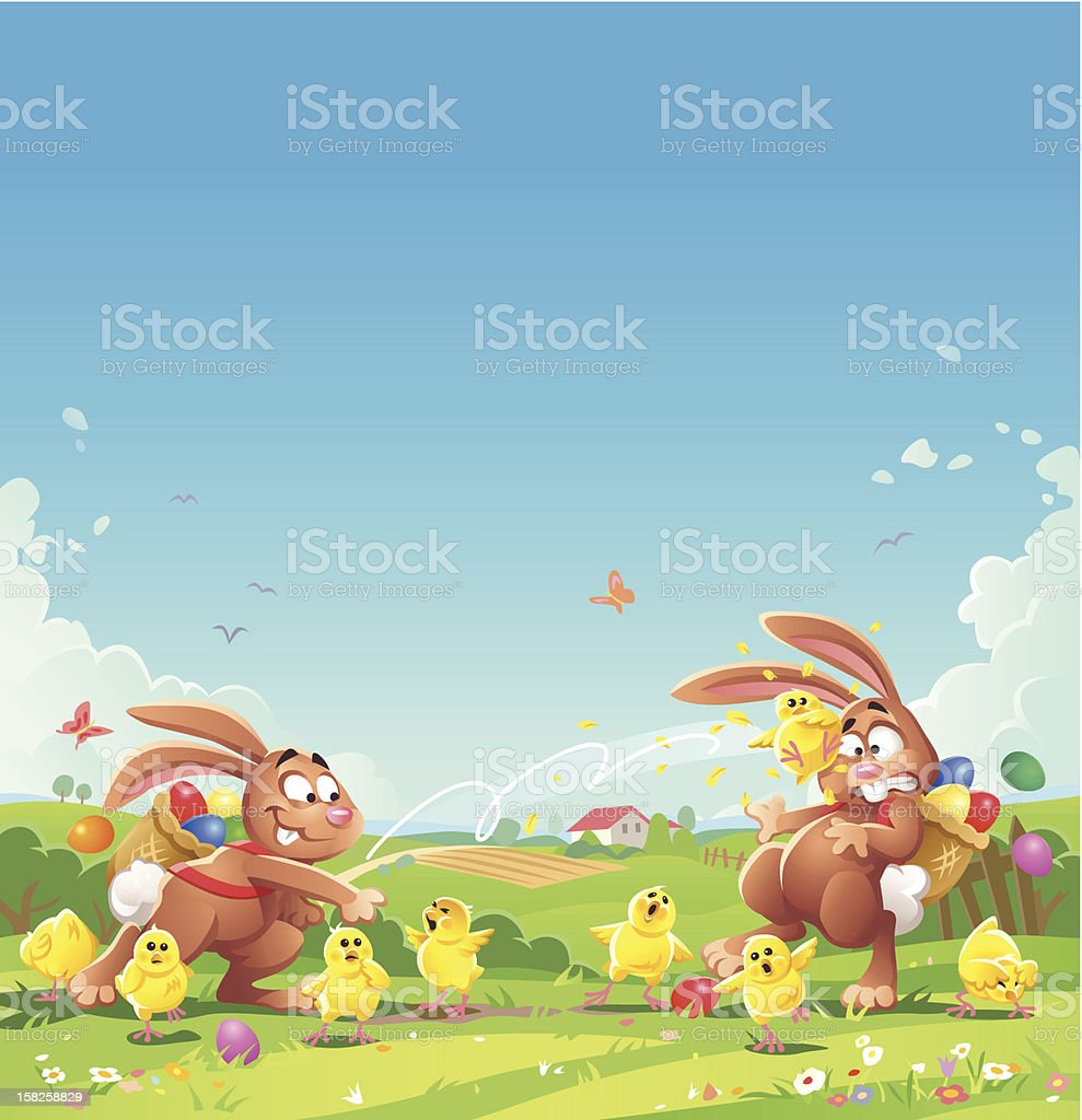 Easter Bunny Chick Fight vector art illustration