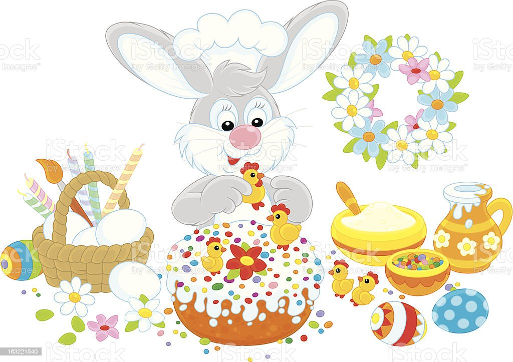 Easter bunny decorates a fancy cake royalty-free stock vector art