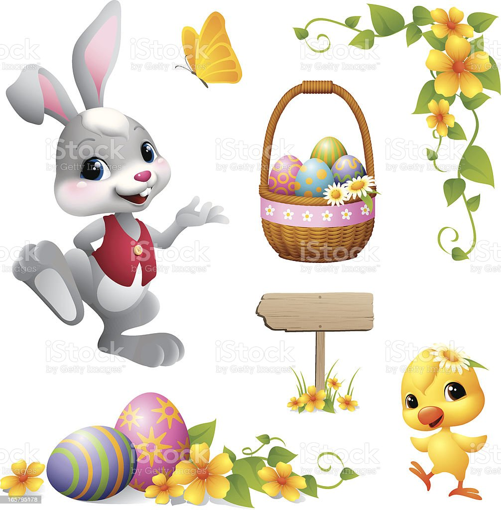Easter Bunny - design element vector art illustration
