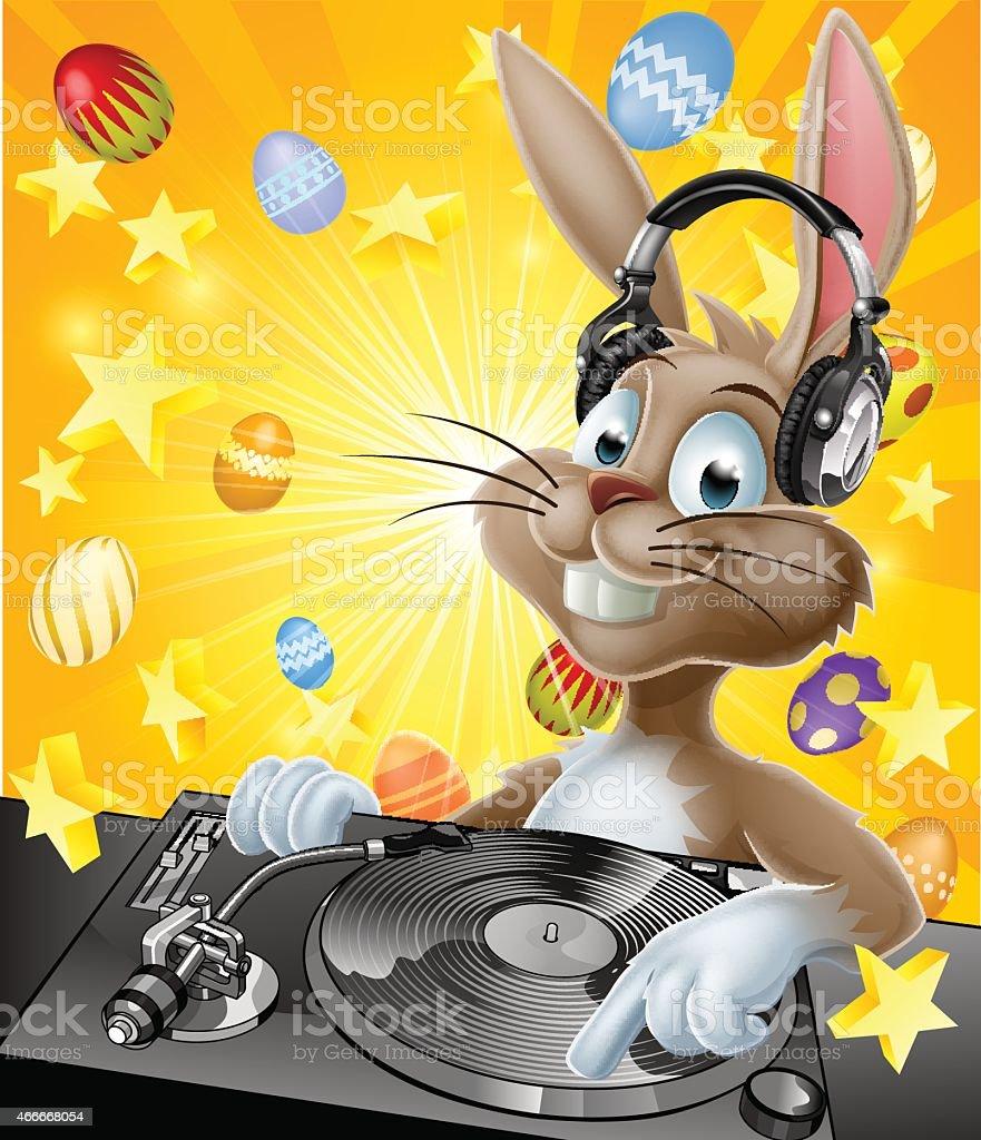 Easter Bunny DJ vector art illustration
