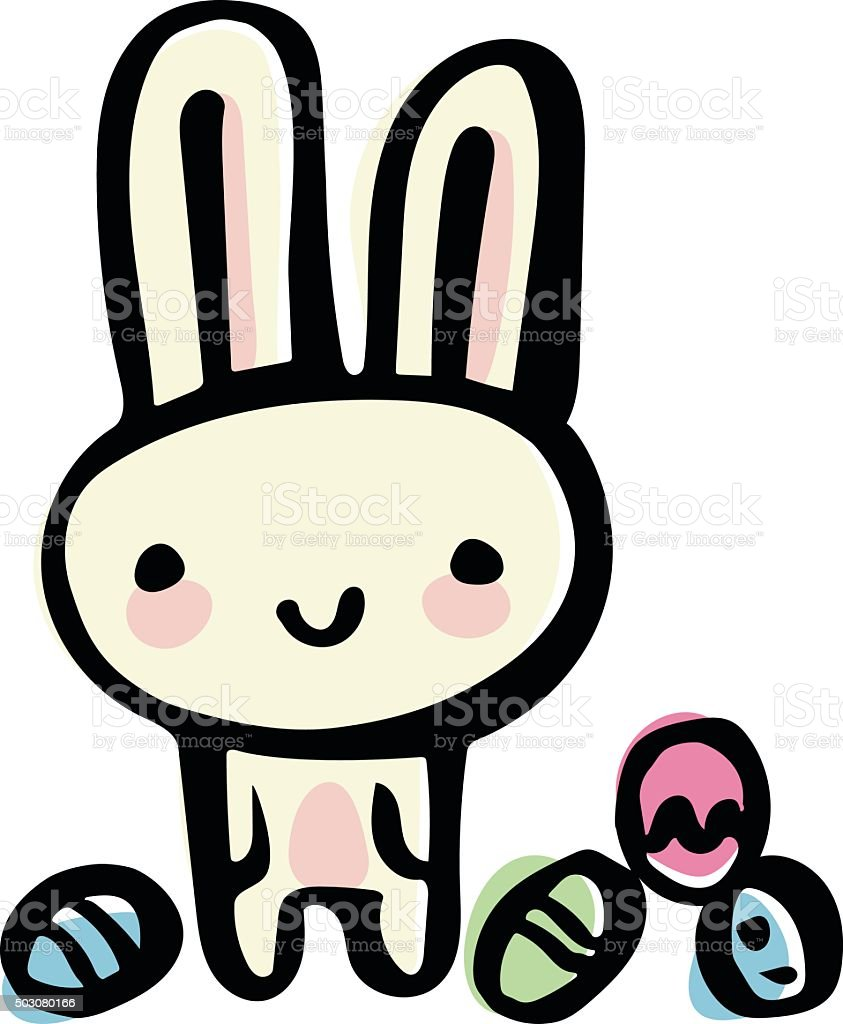 Easter Bunny Doodle vector art illustration