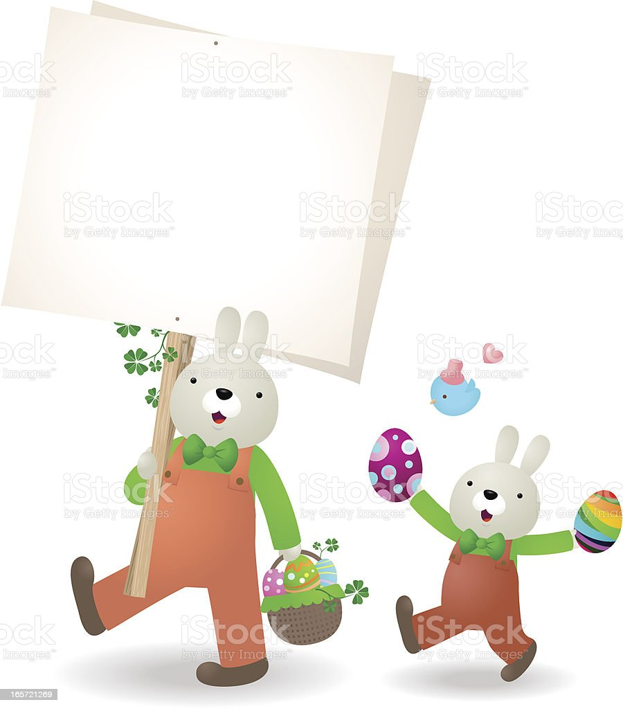 Easter bunny family walking with blank sign, eggs and bluebird vector art illustration