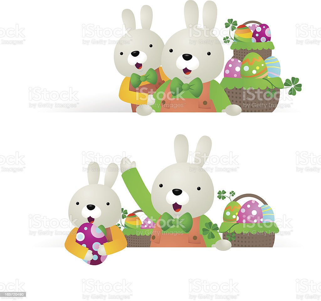 Easter bunny family with blank sign, basket of eggs royalty-free stock vector art