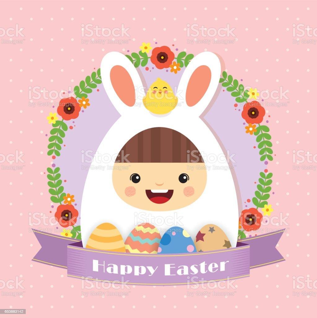 Easter bunny greeting card vector art illustration