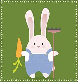Easter bunny holding carrot and rake on green background.