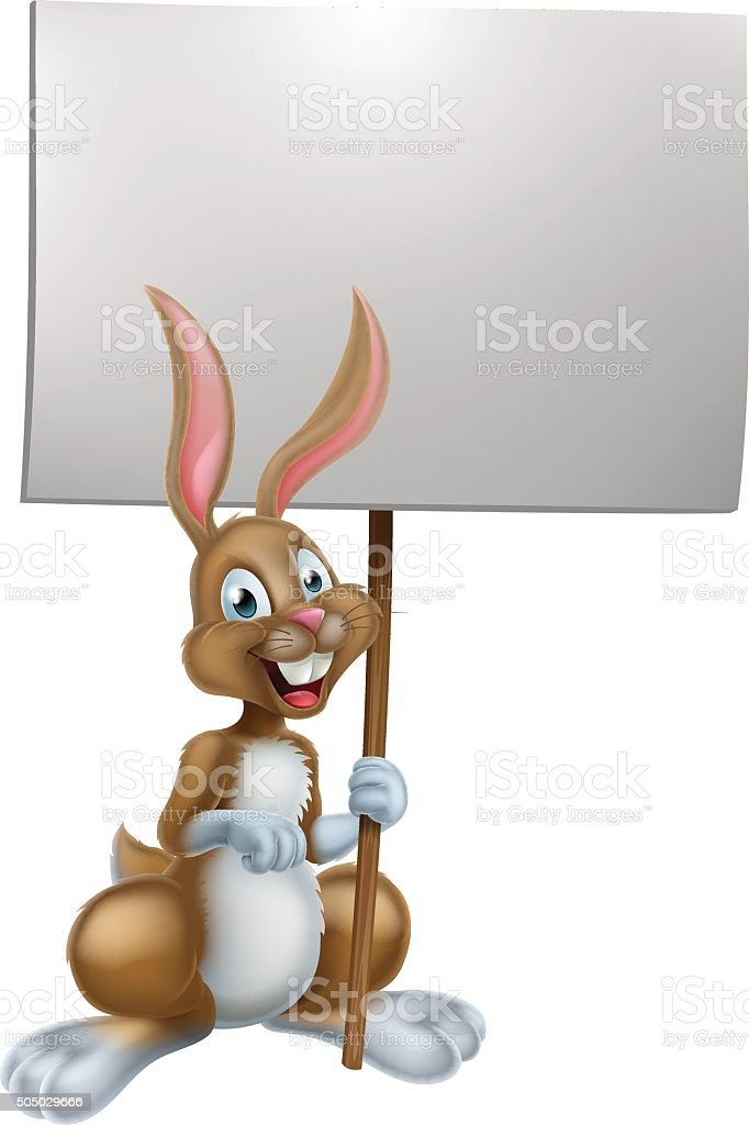 Easter Bunny Holding Sign vector art illustration
