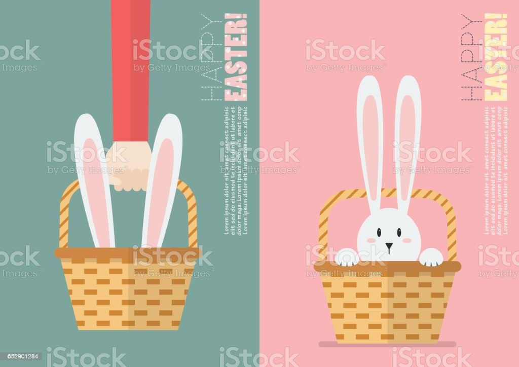 Easter bunny in basket postcard vector art illustration