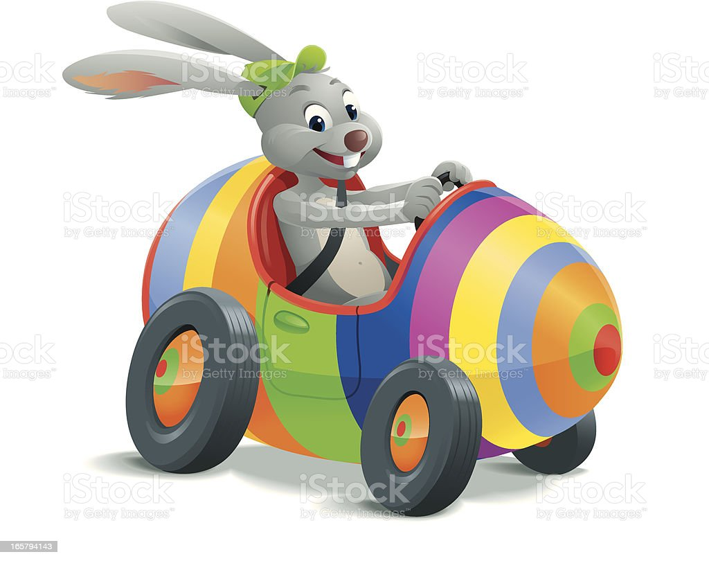 Easter Bunny in Egg Car royalty-free stock vector art