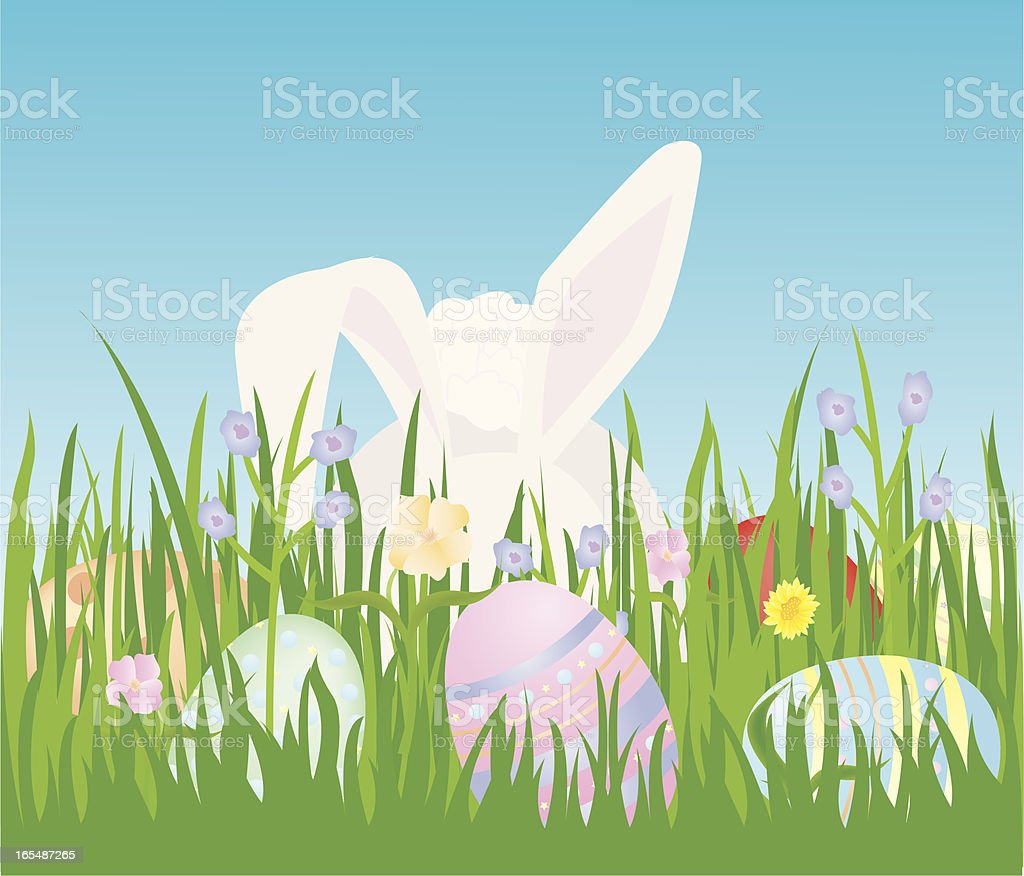 Easter Bunny in the Grass vector art illustration