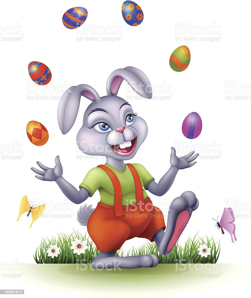 Easter Bunny juggling with eggs royalty-free stock vector art