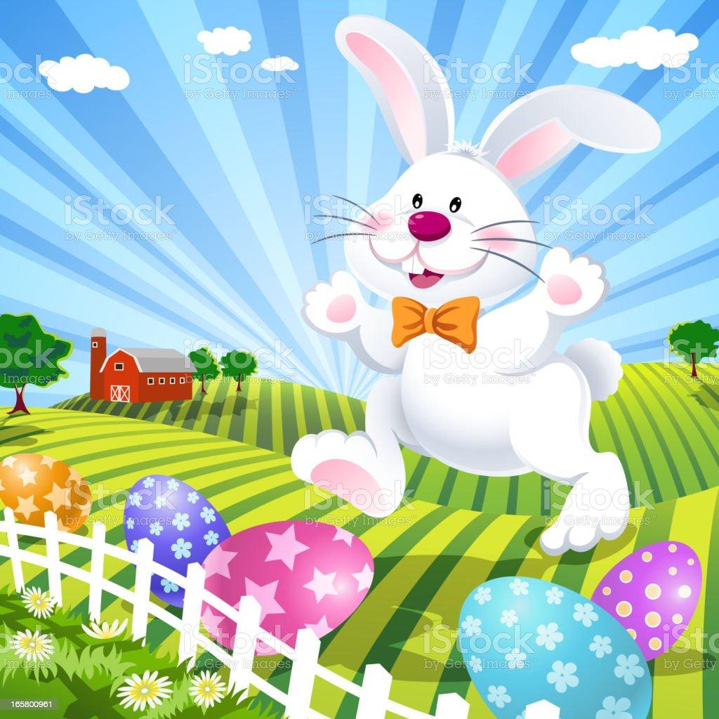 Easter Bunny on the Farm royalty-free stock vector art