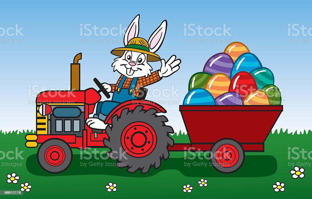 Easter Bunny On Tractor royalty-free stock vector art