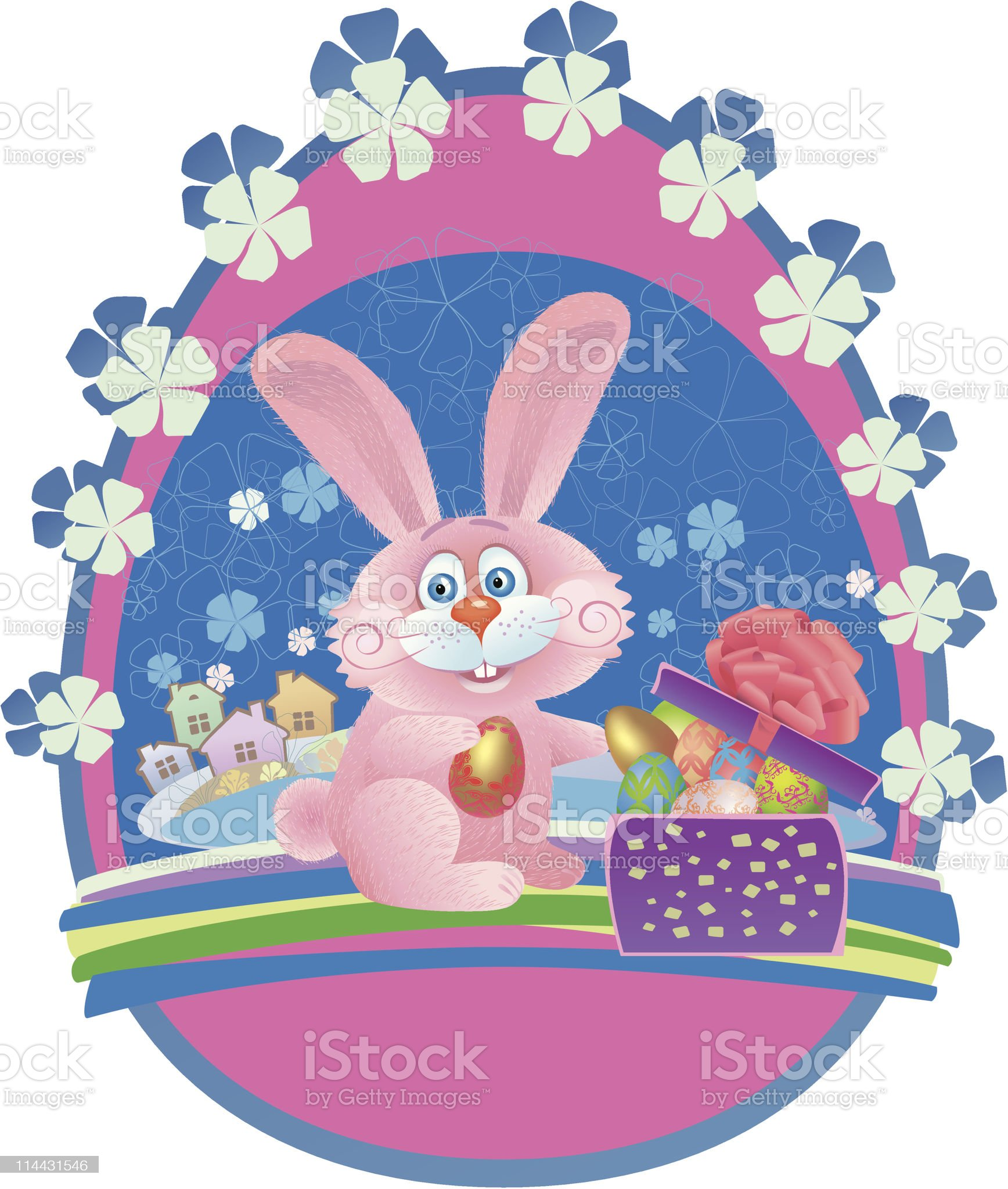 Easter bunny opens a gift royalty-free stock vector art