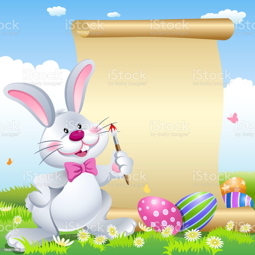 Easter Bunny Painting Scroll vector art illustration