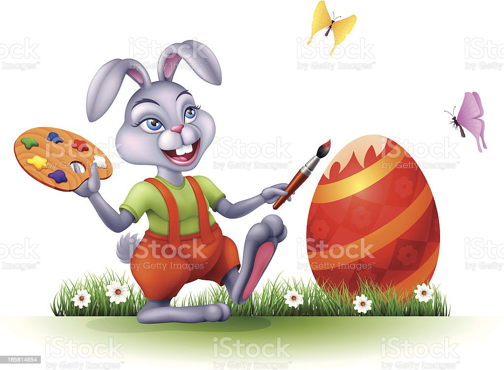 Easter Bunny Painting royalty-free stock vector art