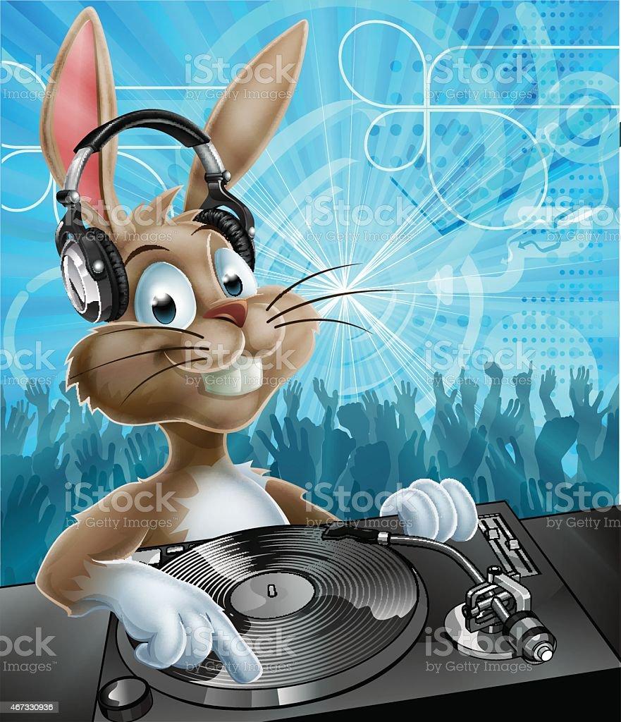 Easter Bunny Party DJ vector art illustration