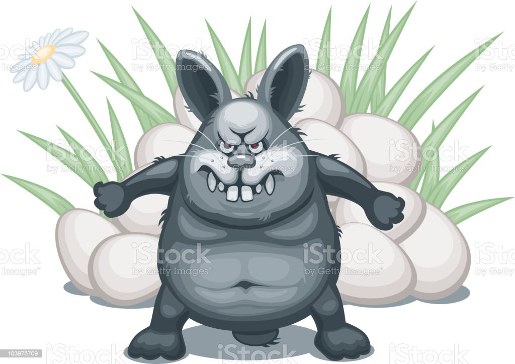 Easter Bunny protecting eggs royalty-free stock vector art