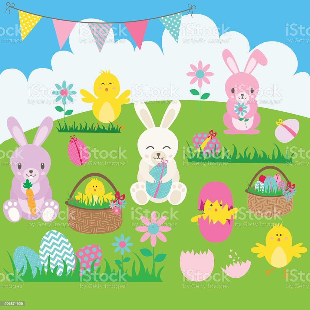 Easter Bunny set.Basket,Flower,Rabbit,Bunting,Easter Egg,Easter Chicks. vector art illustration