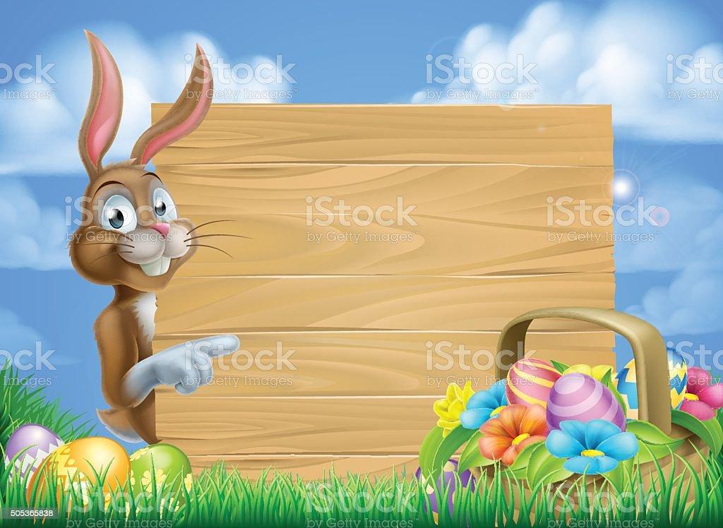Easter Bunny Sign Background vector art illustration
