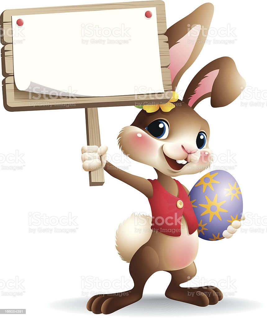 Easter Bunny - sign vector art illustration