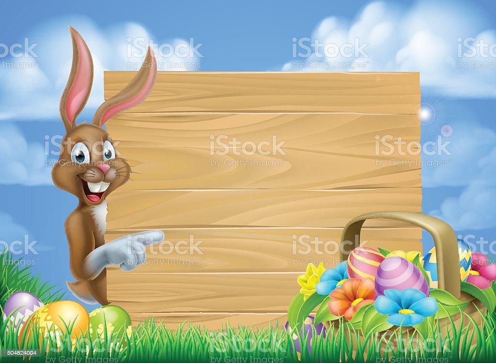 Easter Bunny Sign vector art illustration
