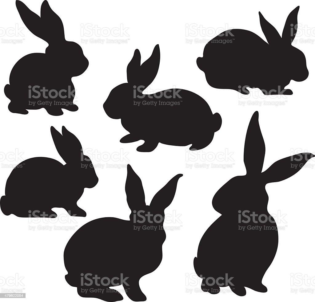 Easter Bunny Silhouette vector art illustration