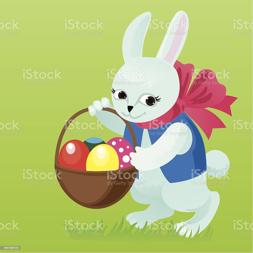 Easter bunny with a basket in which lay eggs vector art illustration