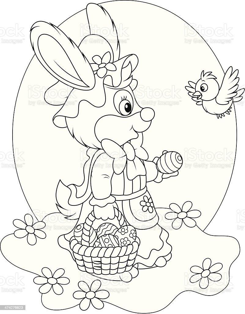 Conejito De Pascua Con Una Canasta De Huevos Illustracion Libre de ...