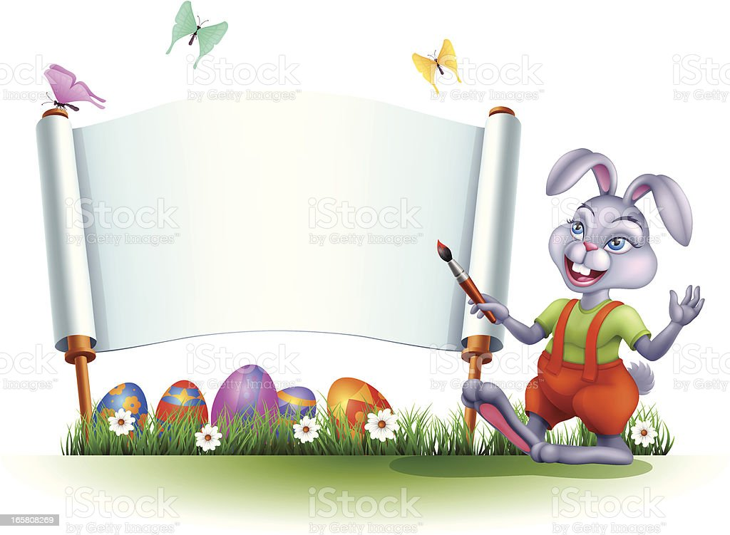 Easter Bunny with Banner royalty-free stock vector art