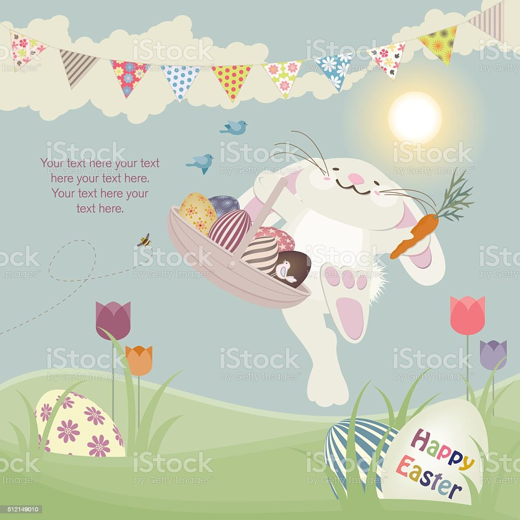 Easter Bunny with Basket vector art illustration