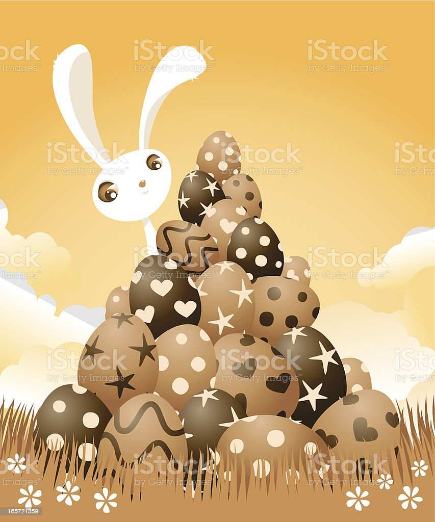Easter Bunny with Chocolate Eggs vector art illustration