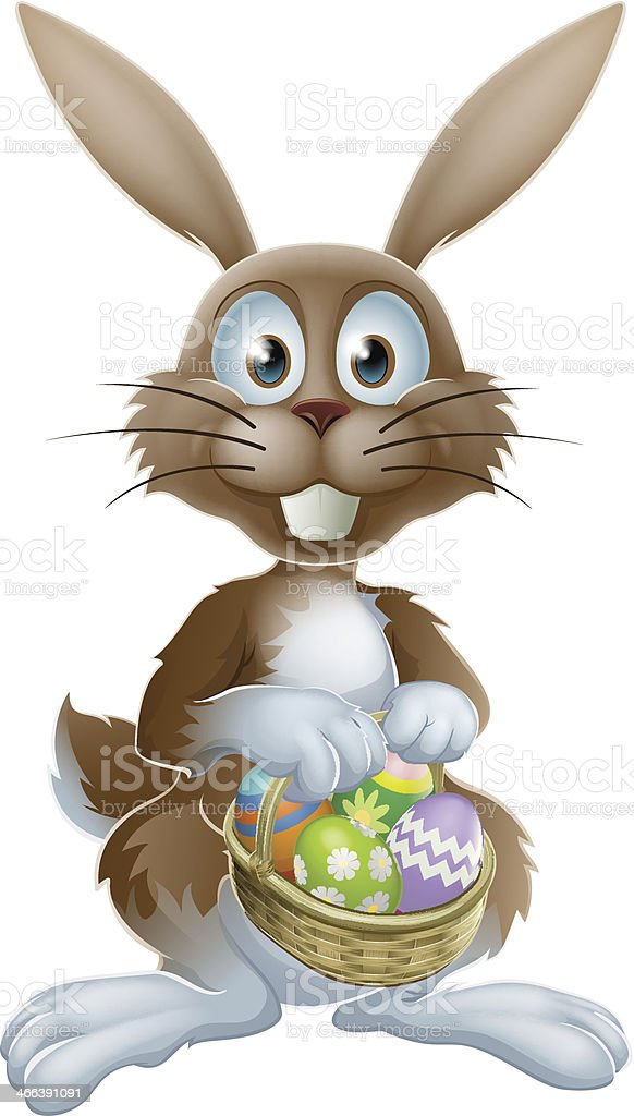 Easter bunny with chocolate eggs royalty-free stock vector art