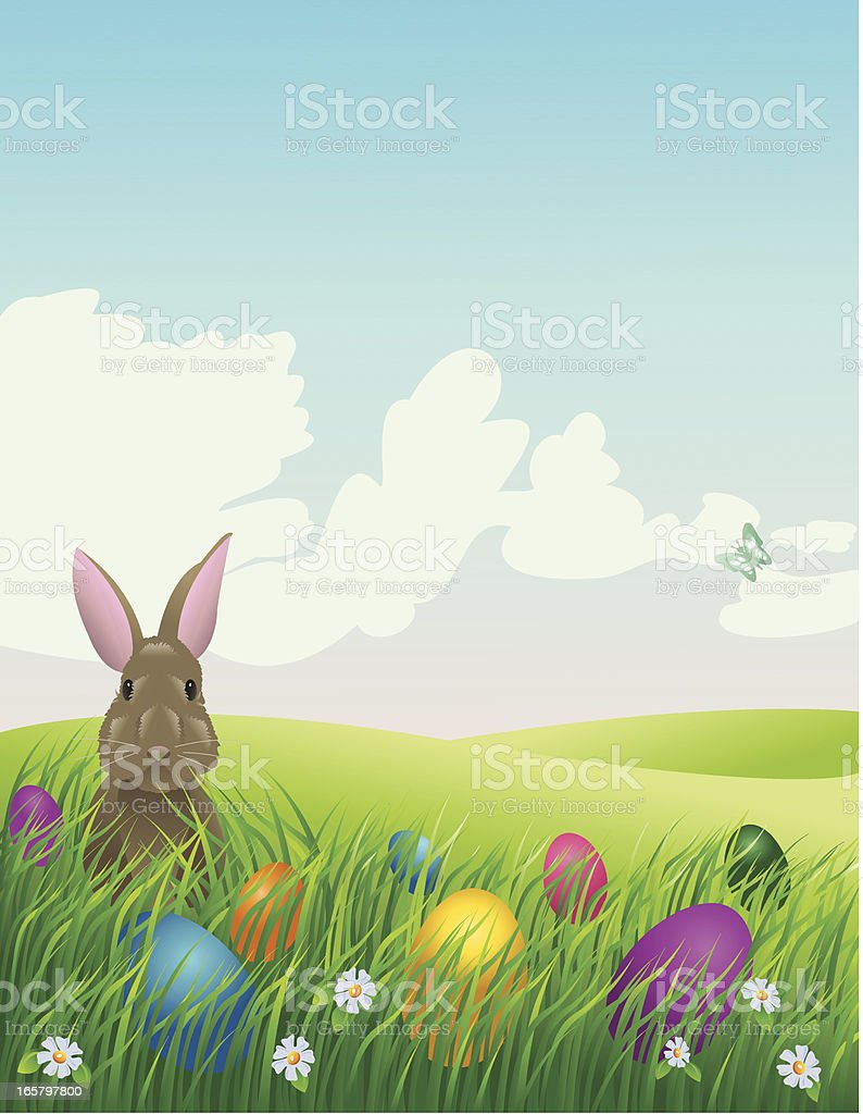 Easter Bunny with Colored Eggs royalty-free stock vector art