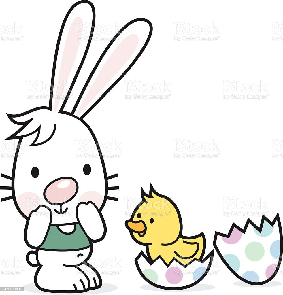 Easter bunny with egg an chick royalty-free stock vector art
