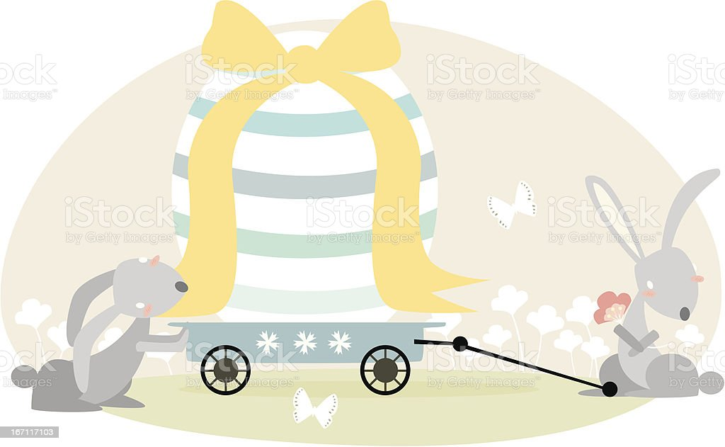 easter bunny with egg vector art illustration