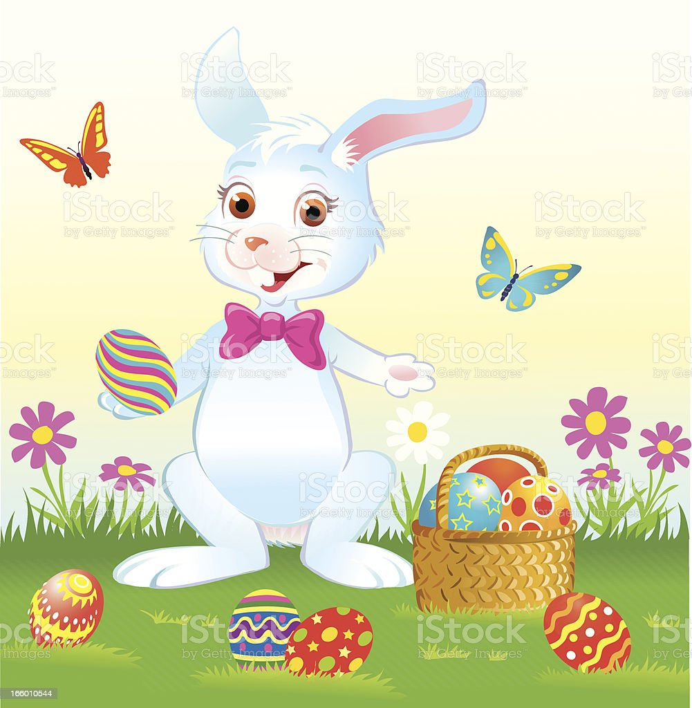 Easter Bunny with Eggs and Bow Tie vector art illustration