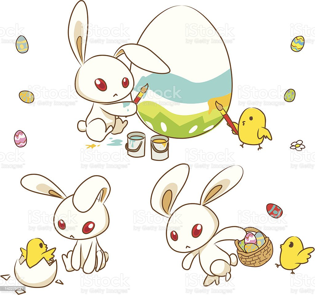 Easter Bunny with eggs and chick royalty-free stock vector art