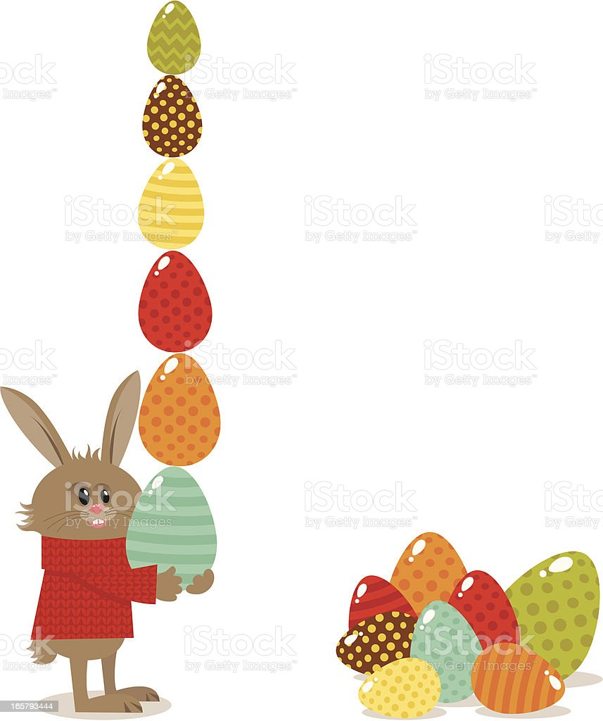 Easter bunny with eggs royalty-free stock vector art