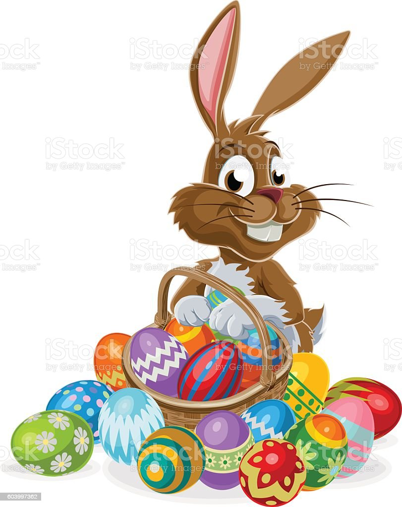 Easter Bunny with Eggs vector art illustration
