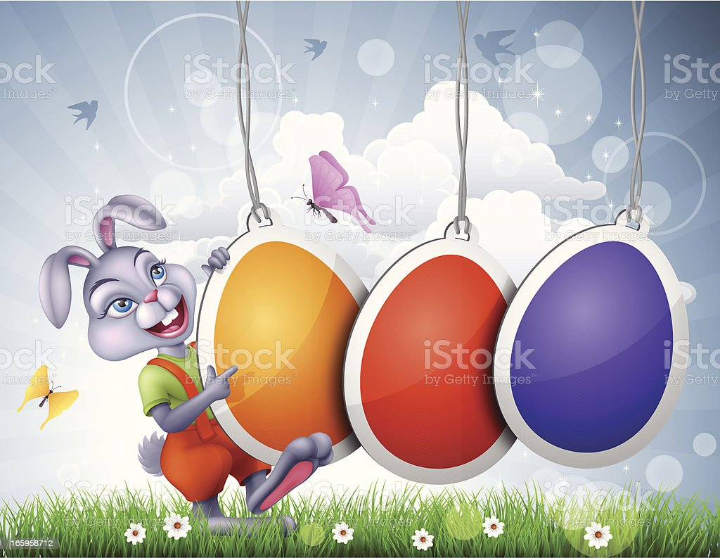 Easter Bunny with Labels royalty-free stock vector art