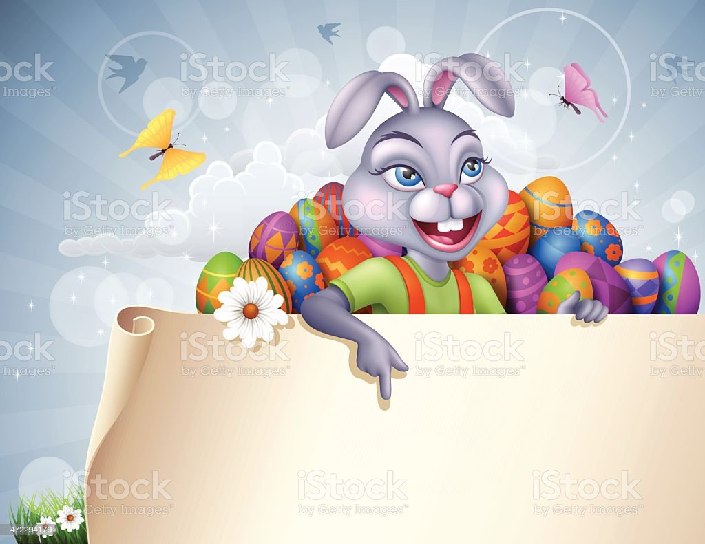 Easter Bunny with paper banner and eggs royalty-free stock vector art