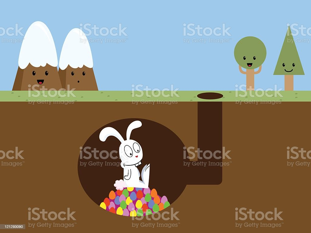 Easter Bunny's Home vector art illustration