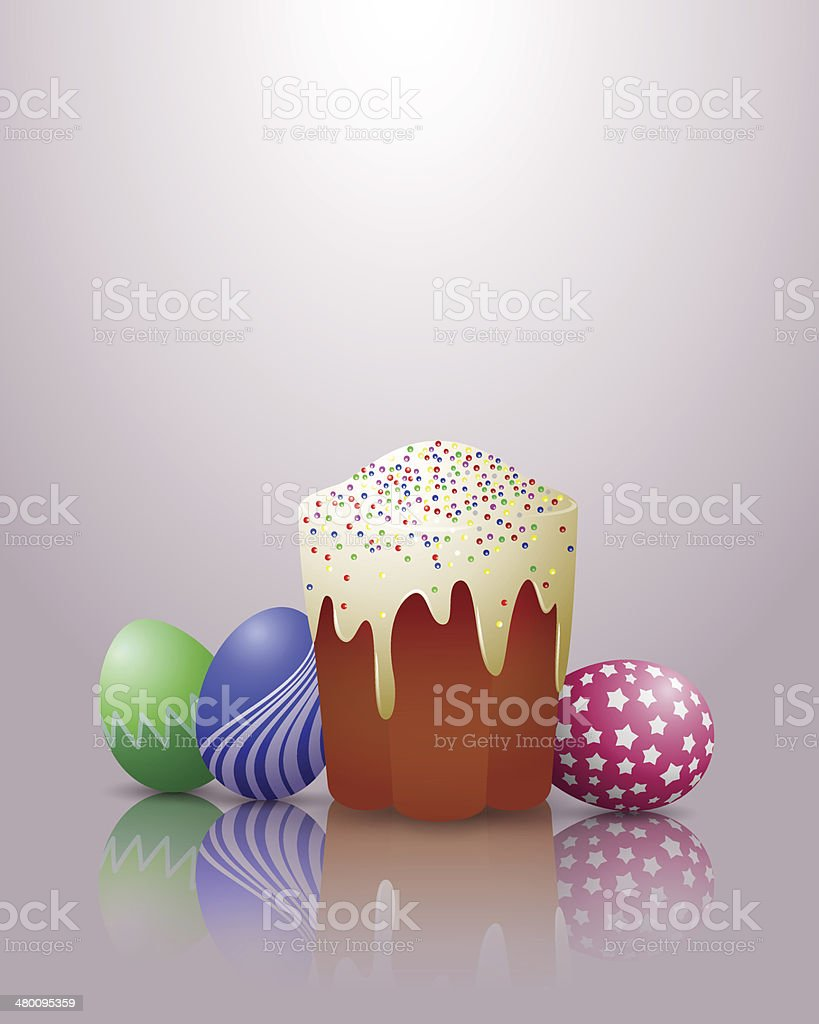 Easter cake and eggs. royalty-free stock vector art
