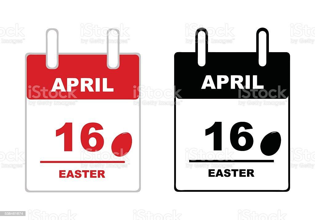 Easter calendar 2017 vector art illustration